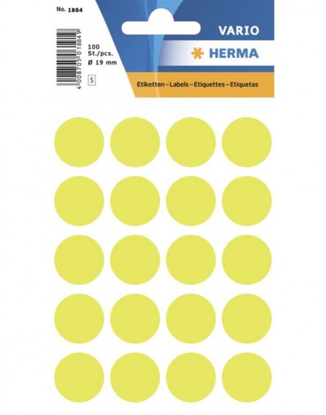 Multi-purpose labels ø 19mm luminous yellow 100 pcs.