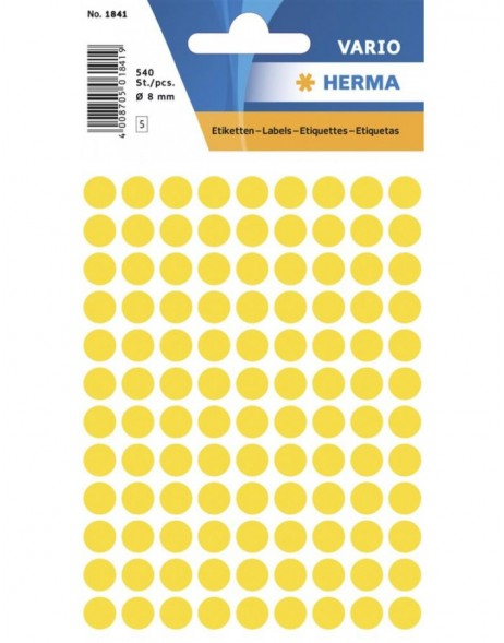 Multi-purpose labels ø 8mm yellow 540 pcs.