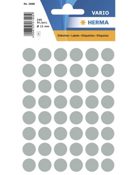 Multi-purpose labels ø 12mm grey 240 pcs.