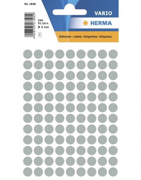 Multi-purpose labels ø 8mm grey 540 pcs.