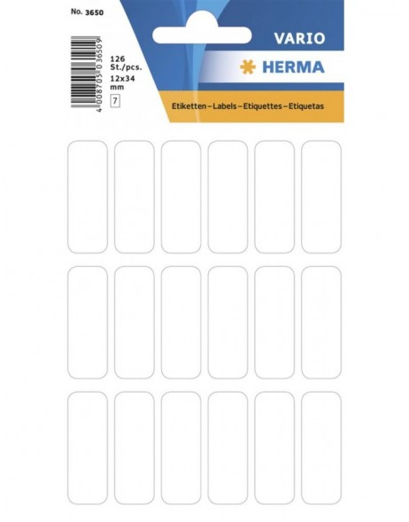 Multi-purpose labels 12x34mm white 126 pcs.