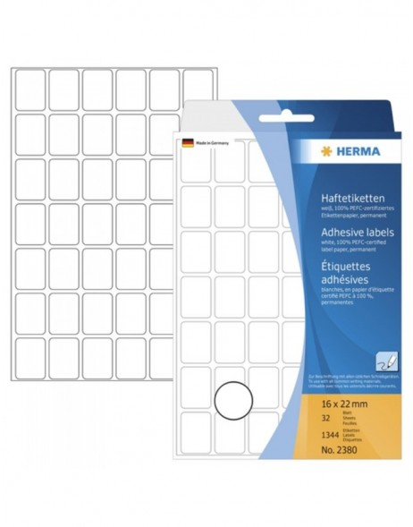 Multi-purpose labels 16x22mm white 1344 pcs.