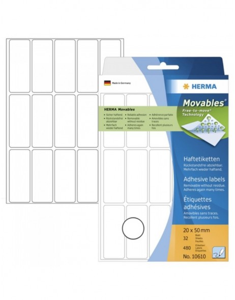 Multi-purpose labels 20x50 mm Movables/removable white 480 pcs.