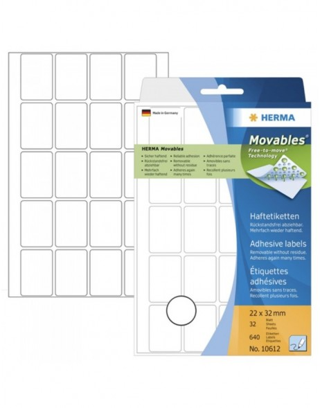 Multi-purpose labels 22x32 mm Movables/removable white 640 pcs.