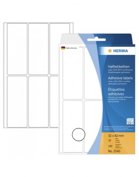 Multi-purpose labels 32x82mm white 192 pcs.