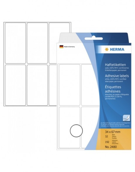 Multi-purpose labels 34x67mm white 192 pcs.