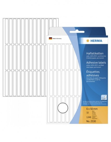 Multi-purpose labels 6x50mm white 1248 pcs.