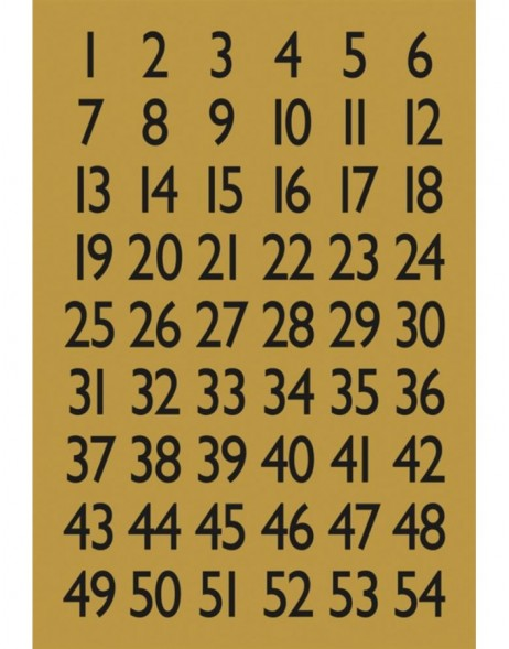 Numbers 13x12mm 1-100 gold foil black 4 sheets