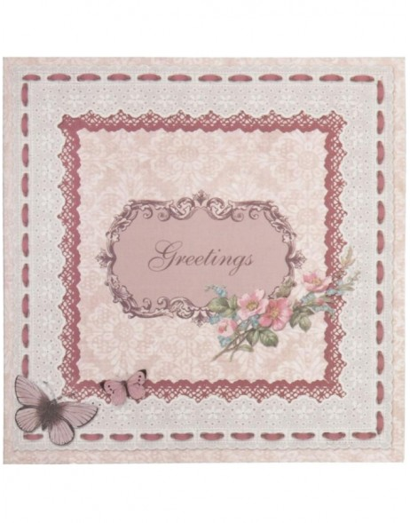 antique greeting card English 13,5x13,5 cm