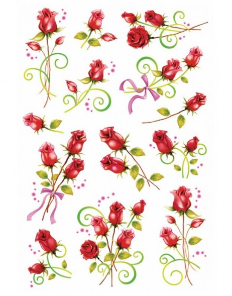 Stickers Red Roses DECOR, self adhesive