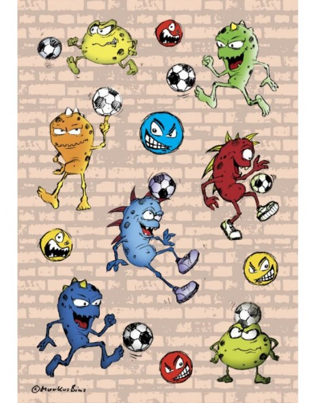 Stickers SOCCER MONSTER - self adhesive,  DECOR