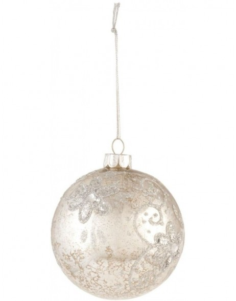 silver christmas bauble 8 cm