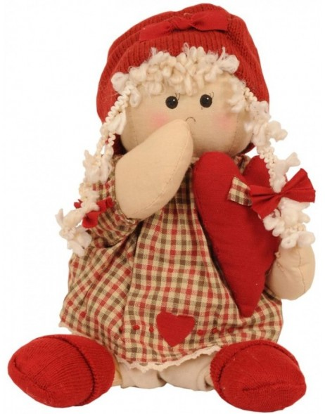doll as decoration 28 cm red