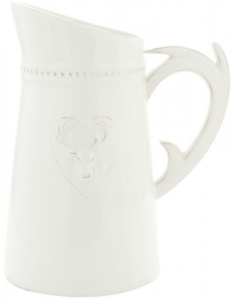 6CE0394 Clayre Eef jug FOREST - naturalwhite