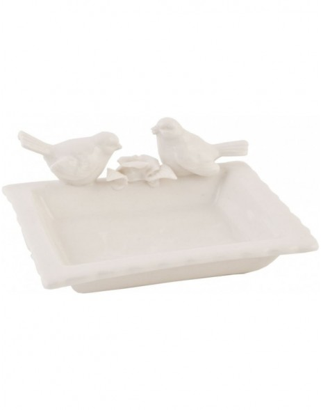 6CE0132 Clayre Eef bowl BIRDS - white