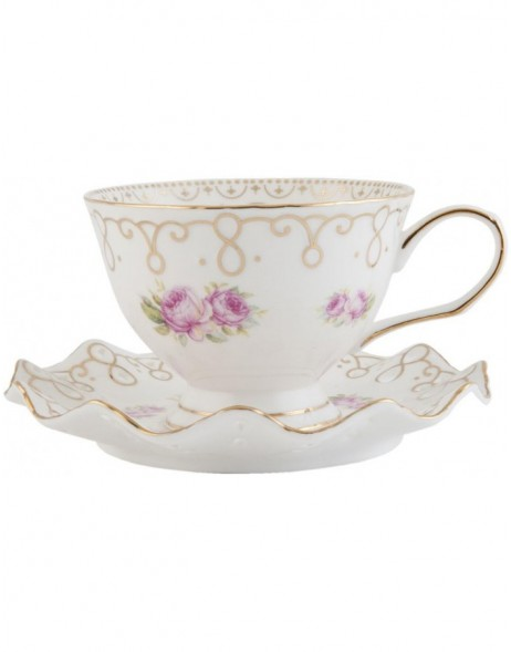 6CE0410 Clayre Eef cup with saucer - white/gold