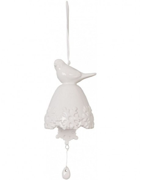6CE0285 Clayre Eef BIRD pendant with bell - natural
