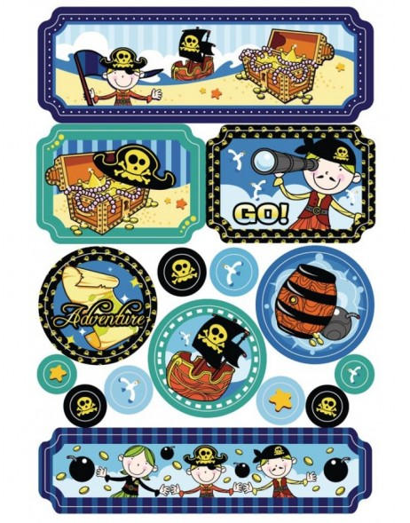 Stickers JOLLY PIRATES glitter-effect - MAGIC, self adhesive
