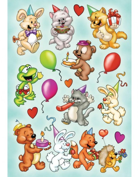 Colourful BIRTHDAY ANIMALS stickers - MAGIC