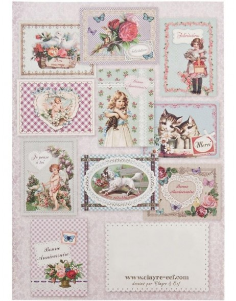 nostalgic set of cards 10 pieces French