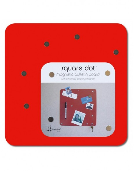 quadratische Magnetwand in rot SQUARE DOT 23 cm