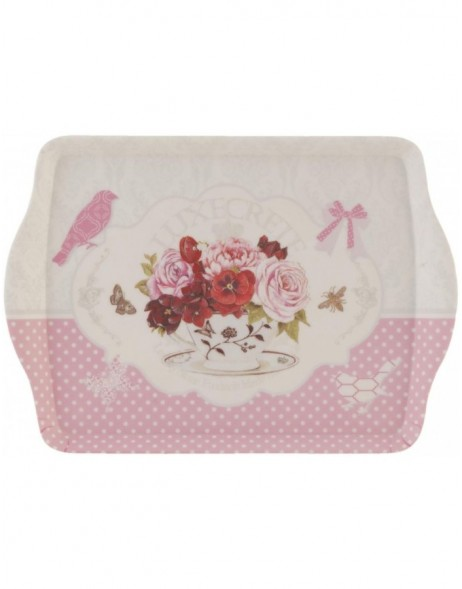 dinner tray 30x22 cm white-pink