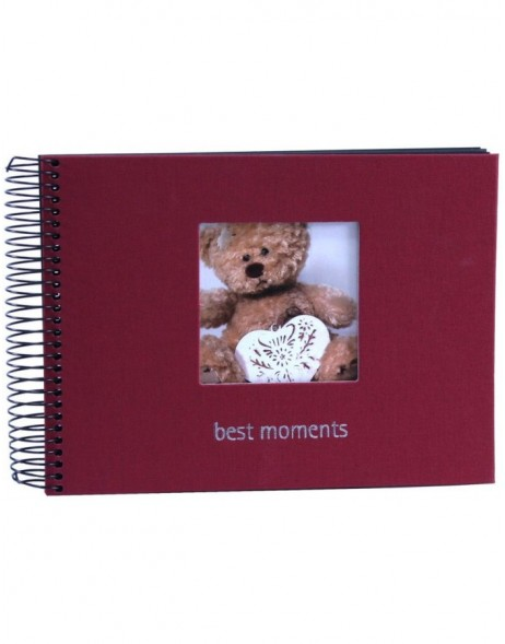 Burgundy spiral bound album Moments