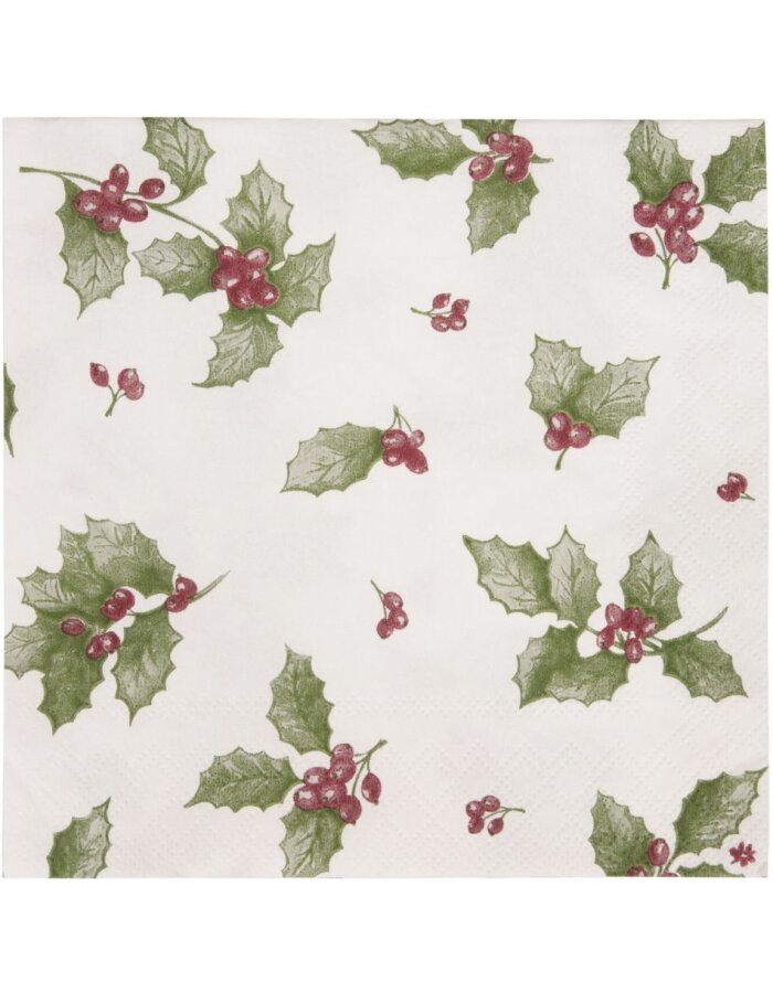 Papierservietten Holly Leaves 33x33 cm