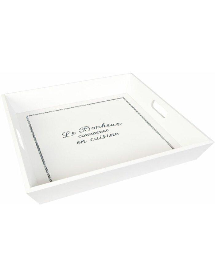 Clayre Eef Tablett Quadratisch Bonheur Weiss Fotoalben Discount De