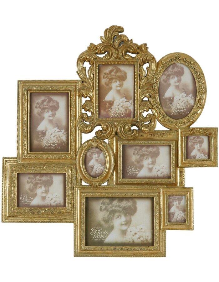 Clayre Eef 2827 antike Rahmen Galerie 53x56 cm gold für 9 Fotos ...
