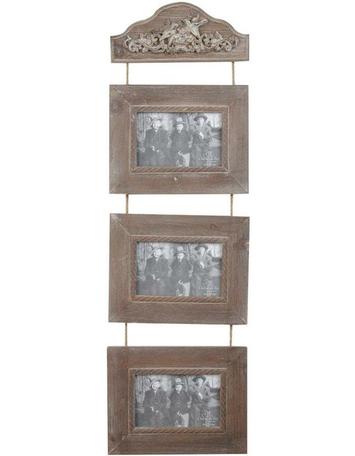 2839 Antike Rahmen Galerie Holz Braun 3 Bilder 10x15 Cm