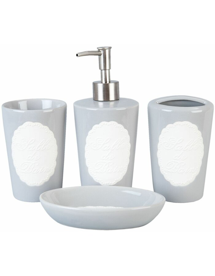 Badezimmer Set Grau | Keramik Badezimmerset 63757 Clayre Eef Fur Ihr Waschbecken