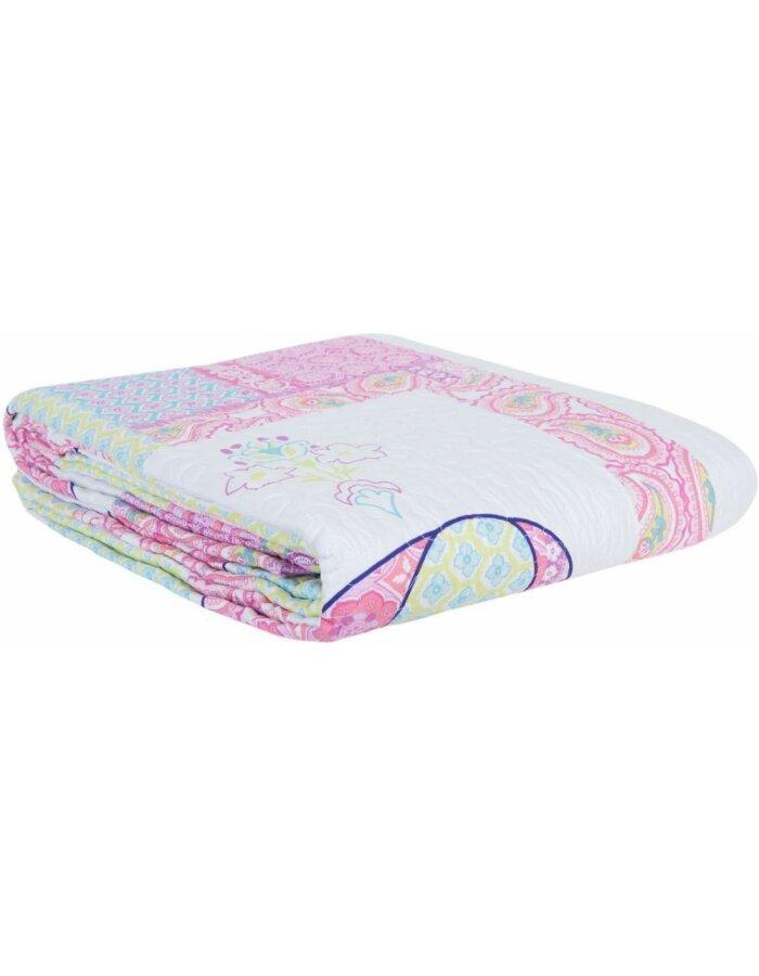 Q167.060 Clayre & Eef Kinder-Bettüberwurf 180x260 cm in bunt rosa