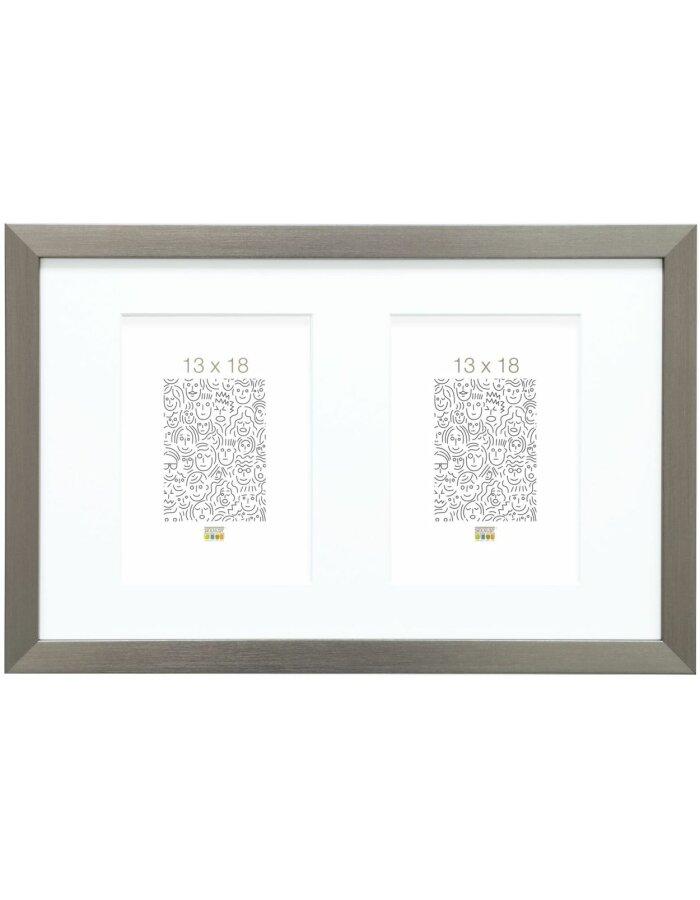 S41vd1p2v130x180 Bilderrahmen Mit Passepartout Silber Kunststoff 13
