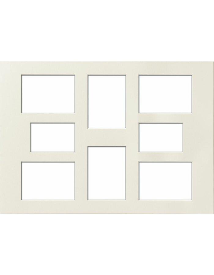 Passepartout 50x70 cm, mit 8 Ausschnitten, chamois
