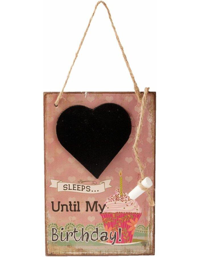 6H1358 Clayre Eef Kreidetafel 12x18 cm in bunt rosa