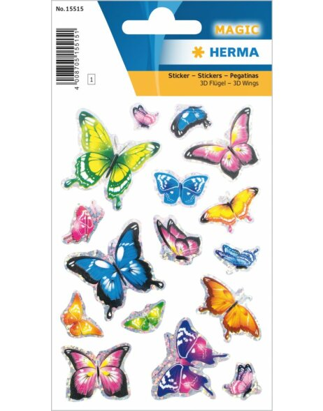 Herma MAGIC Schmetterling Sticker mit 3D Flügel Effekt