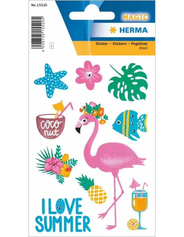 Herma MAGIC Sticker I love Summer mit Glitzersteinchen