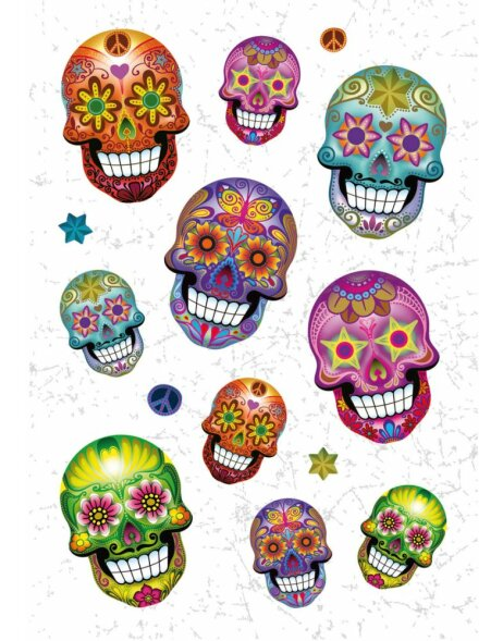 Herma MAGIC Sticker Totenkopf Flower Power, Folie beglimmert
