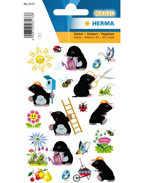 Herma MAGIC Sticker Gartentiere, Stone
