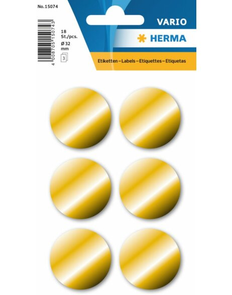 Herma DECOR Goldetiketten Ø 32 mm, permanent haftend