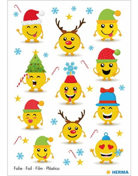 Herma MAGIC Sticker Weihnachtsemojis, Folie