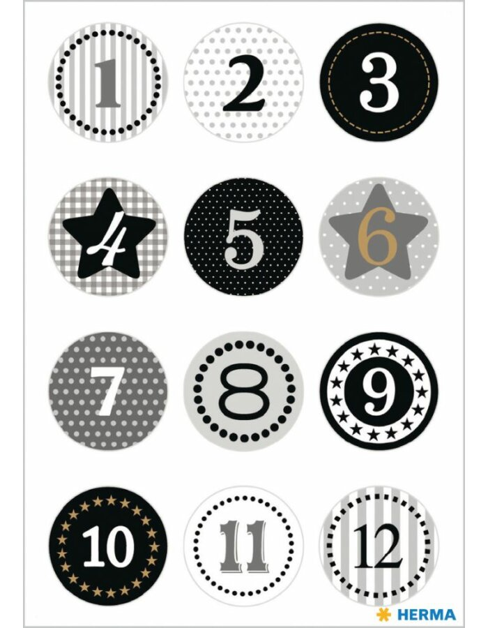 Herma DECOR Sticker Adventskalendersticker 1-24, Schwarz Goldprägung