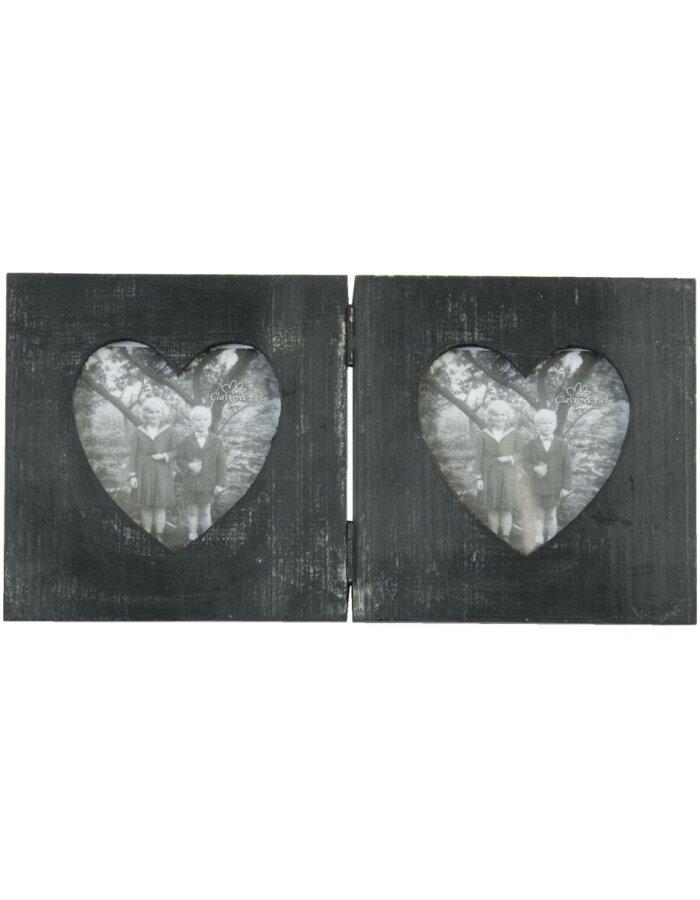 Holz-Fotorahmen schwarz herzförmig   fotoalben-discount.de
